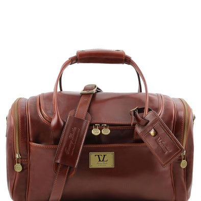 Tl Voyager - Travel Leather Bag With Side Pockets - Small Size