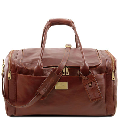 Tl Voyager - Travel Leather Bag With Side Pockets - Large Size