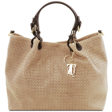 Tl Keyluck - Woven Printed Leather Tl Smart Shopping Bag - Large Size