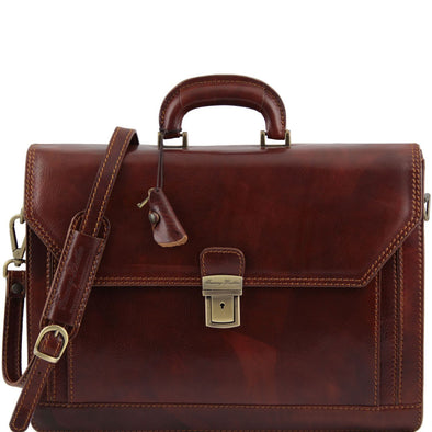 Roma - Leather Briefcase 3 Compartments