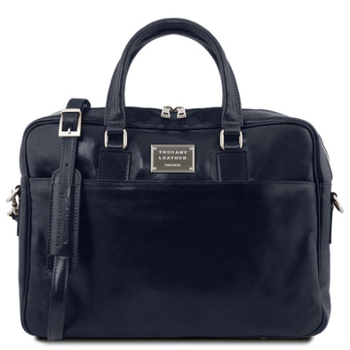 Urbino - Leather Laptop Briefcase With Front Pocket