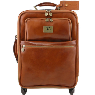 Tl Voyager - 4 Wheels Vertical Leather Trolley
