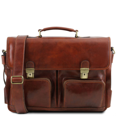 Ventimiglia - Leather Multi Compartment Tl Smart Briefcase With Front Pockets