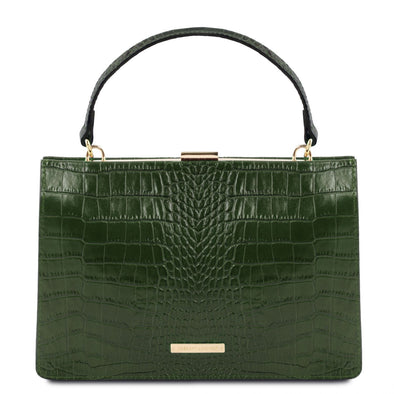 Iris - Croc Print Leather Handbag