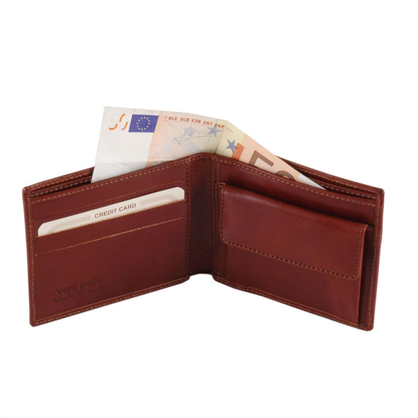 Exclusive 2 Fold Leather Wallet   With Coin Pocket