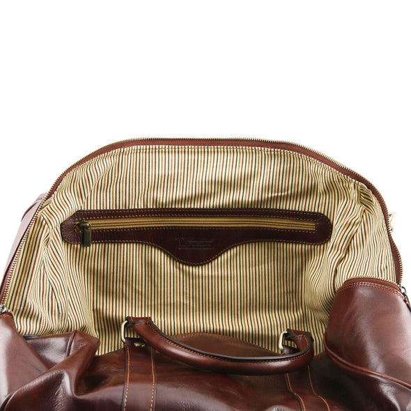 Tl Voyager - Travel Leather Duffel Bag With Pocket On The Back Side - Small Size