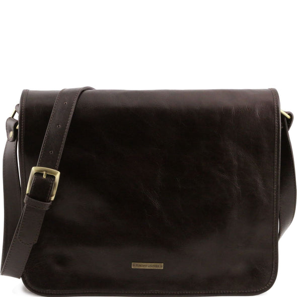Tl Messenger - Two Compartments Leather Shoulder Bag - Large Size