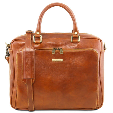 Pisa - Leather Laptop Briefcase With Front Pocket