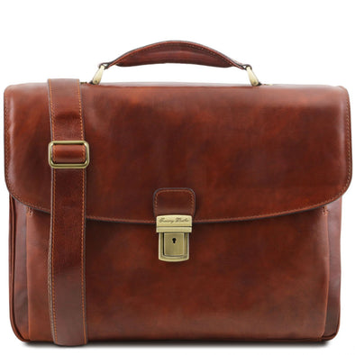 Alessandria - Leather Multi Compartment Tl Smart Laptop Briefcase
