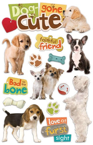 Dog Gone Cute 3D Sticker