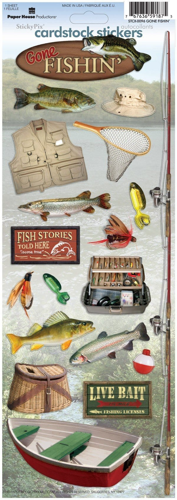 Gone Fishin' Cardstock Stickers