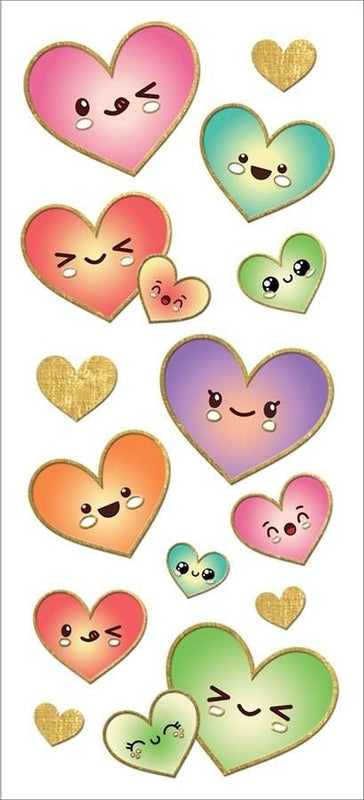 Kawaii Hearts Faux Enamel Sticker