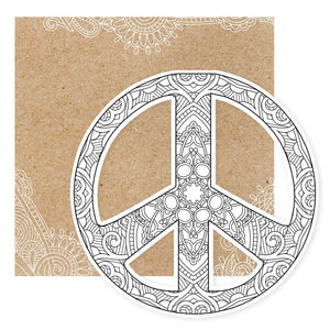 Peace Sign Diecut Coloring Card