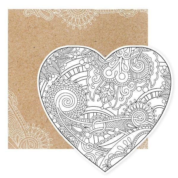 Heart Diecut Coloring Card