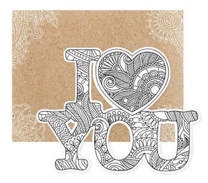 I Love You Diecut Coloring Card