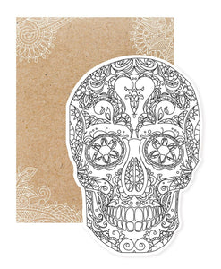 Sugar Skull Diecut Coloring Card