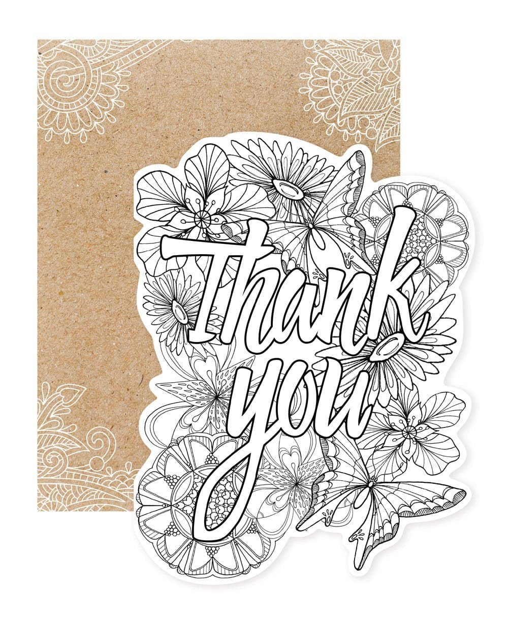 Thank You Diecut Coloring Card
