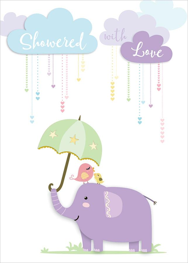 Showered with Love Elephant 3D Card