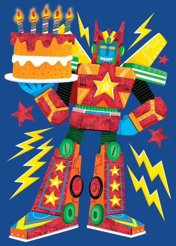 Birthday Robot Foil Card