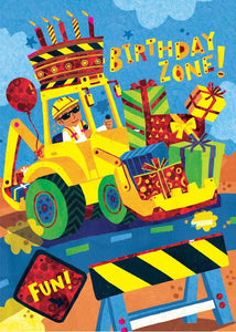 Birthday Backhoe Foil Card