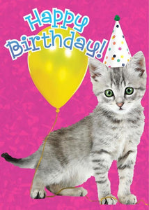 birthday kitten foil card