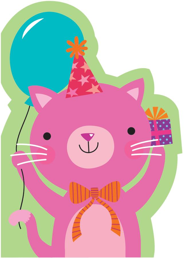 Pink Kitten Flocked Card