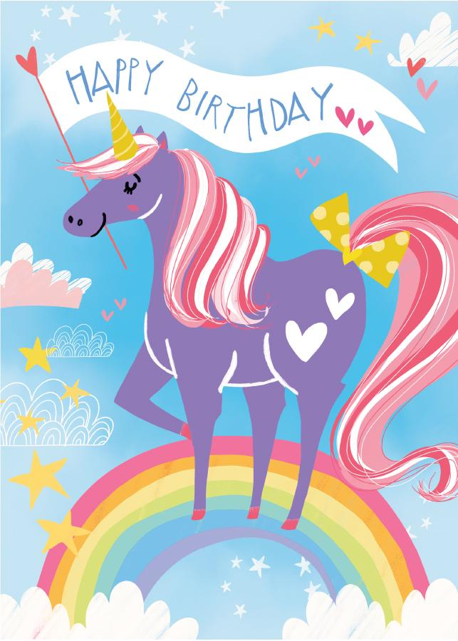 Unicorn Flocked Card