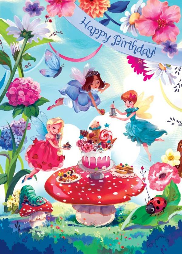 Fairy Garden Party Glitter Card