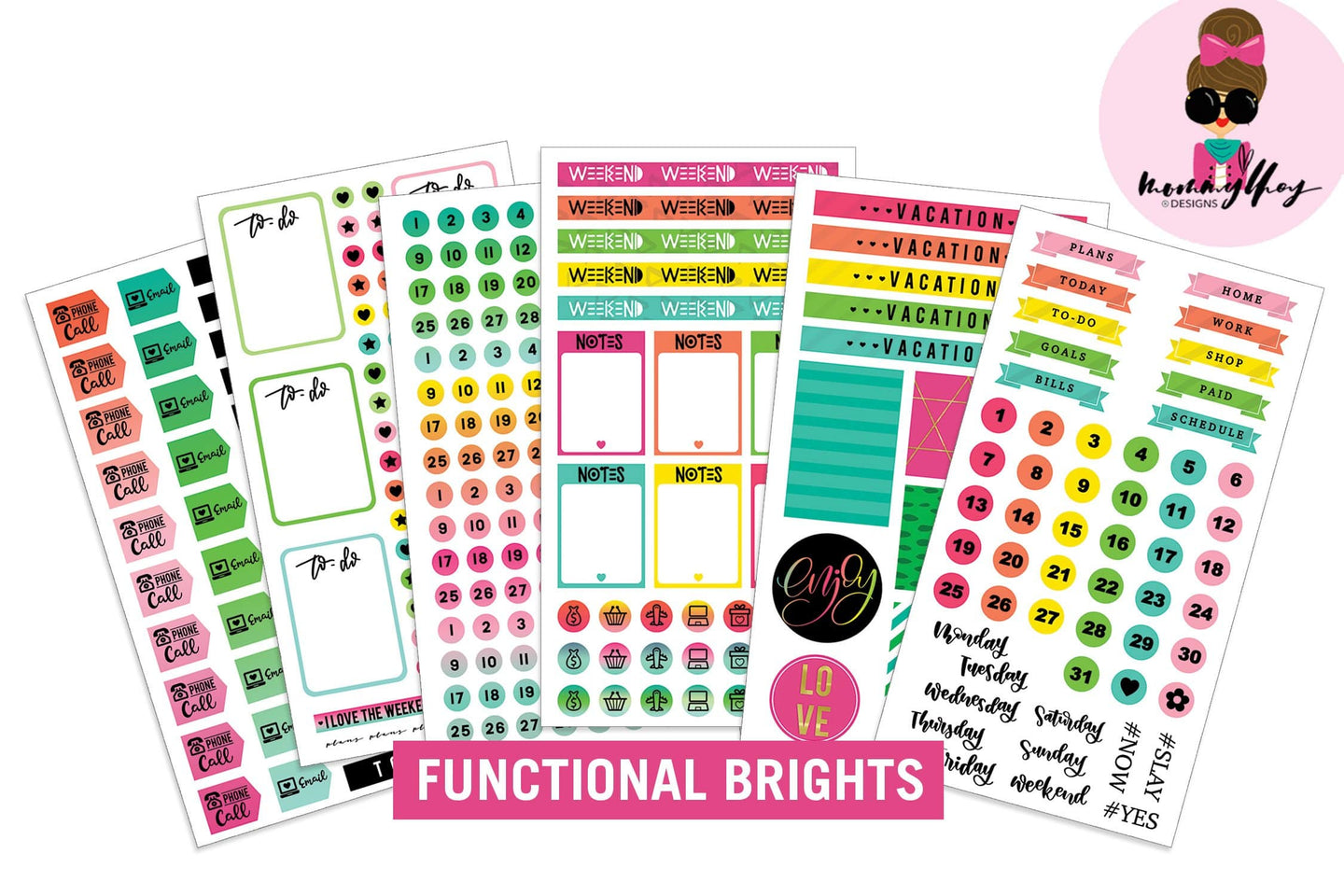 Mommy Lhey- Functional Brights Sticker Kit