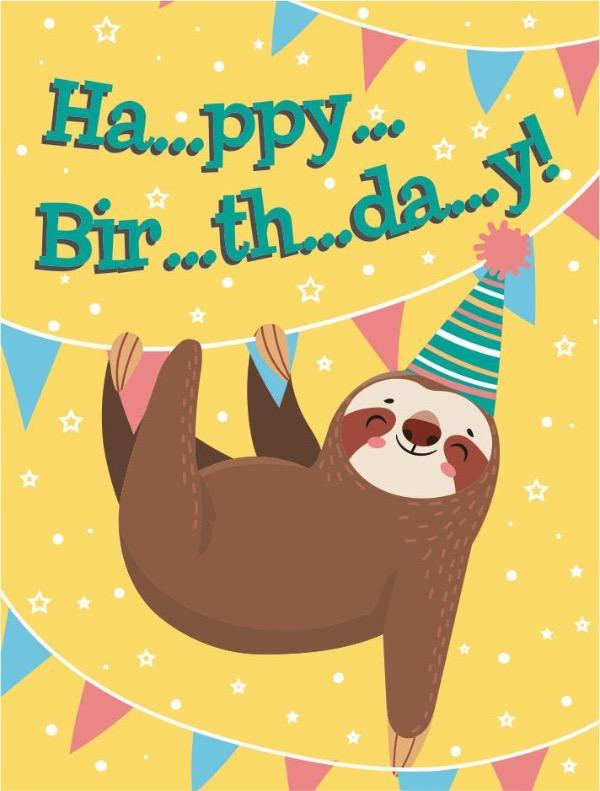 birthday sloth mini card