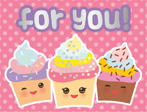 Kawaii Cupcakes Foil Mini Card