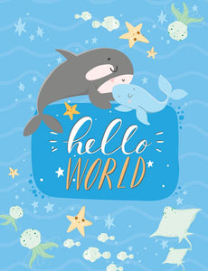 Welcome to the World Whale Glitter Mini Card