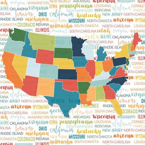 Discover USA Map Double Sided Paper