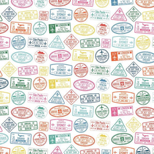 Passport Stamps Double Sided Paper