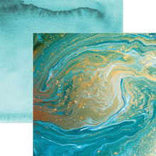Load image into Gallery viewer, Teal Marble Double Sided Paper