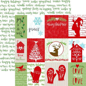 "Home for Christmas Tags 12"" Double Sided Glitter Scrapbook Paper"