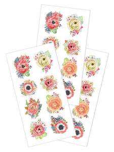 "Peach Poppies 2"" Stickers"