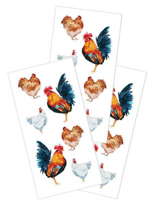 "Watercolor Chickens 2"" Stickers"
