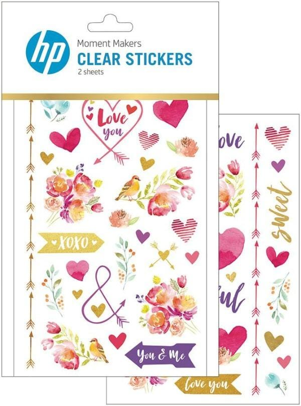 HP Moment Makers Love Clear Stickers