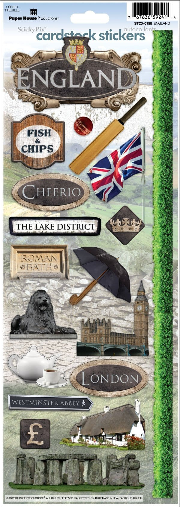England Cardstock Stickers