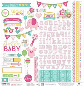 "Hello Baby Girl 12"" Cardstock Stickers"