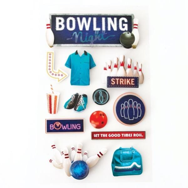 bowling night 3d sticker