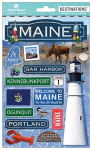 Travel-Maine Dimensional Sticker