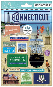 Travel-Connecticut Dimensional Sticker
