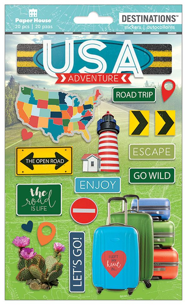 Travel-Discover USA Dimensional Sticker