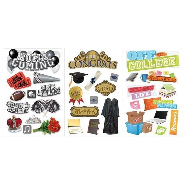 3D stickers school assortment 4