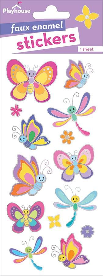 Butterflies and Dragonflies Faux Enamel Stickers