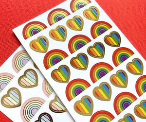 Rainbows and Hearts Functional Stickers