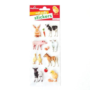 baby barnyard animals puff stickers