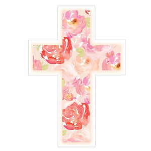 Floral Cross Vinyl Sticker